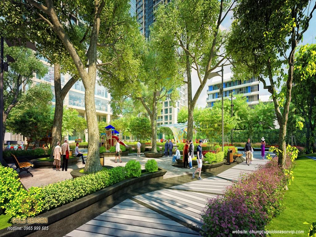 Khu vườn xanh trong dự án Imperia Minh Khai
