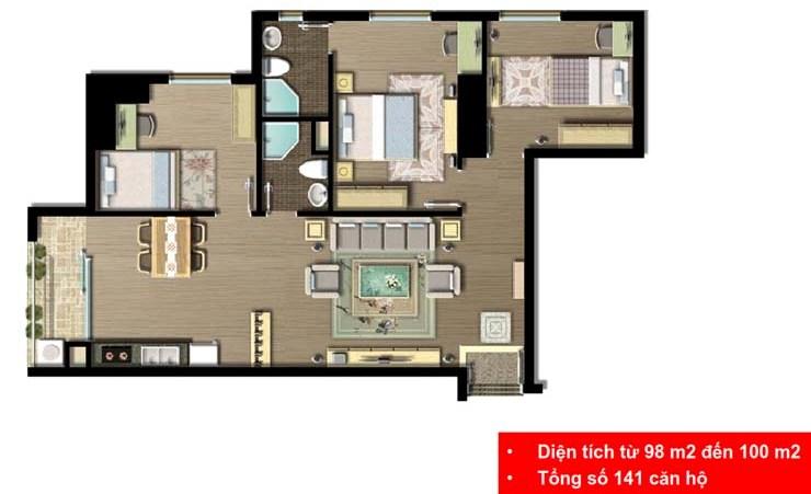 Mặt bằng căn hộ 3 phòng ngủ Imperia Sky Garden