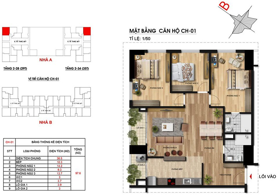 Căn hộ 3 phòng ngủ số 01 chung cư Imperia Sky Garden